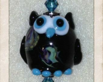 Black & Aqua Owl Pendant