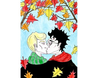 Leaves&Kisses -Harry Potter card featuring Harry Potter and Draco Malfoy