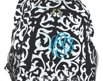 Damask Black  Trim Backpack With Free Embroidery