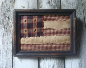 Primitive Framed Americana Flag