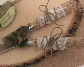 rustic wedding cake cutting country wedding cake knife serving set(K101)