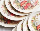 Funky Toadstool and Flower Melamine Camping or Picnic, 8 Plate Set - TheHattersTeaParty