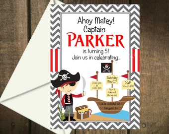 Pirate Party Printable Invitation and Matching Thank You