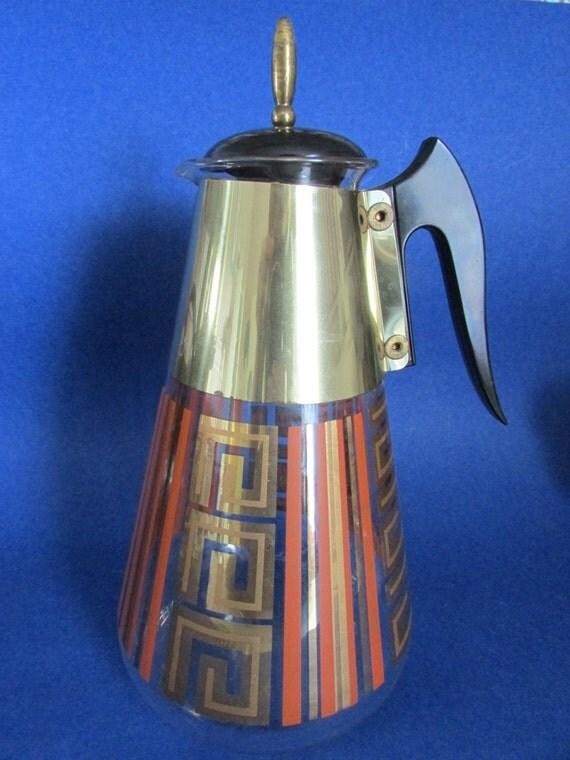 SALE Corelle Coffee Carafe in Retro Vintage Orange Stripe and