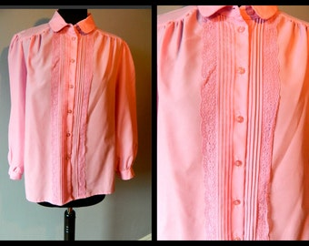 30% off Vintage Pink Blouse Girly Detailed laced front button Down Partridge family Style Size M-L