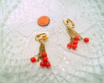 Vintage Dangle Earrings, Designer Signed Celebrity Clip ons, Orange, melon, Tangerine Vintage jewellery