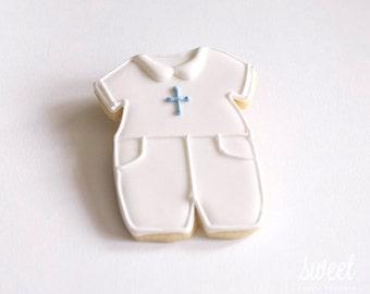 Baby Boy Christening Cookie Favors // One Dozen Sugar Cookies