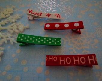 Ho Ho Ho Noel Christmas clippies (SET OF 4) No Slip Grip