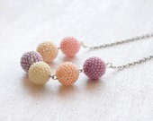 SALE 25% OFF Pastel pink necklace, Beaded bead necklace, Wedding jewelry, Modern jewelry, Minimalist jewelry, Fall winter fashion