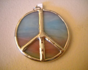 Stained Glass Peace Sign Pendant
