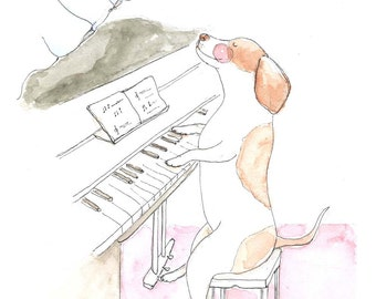 Dog Musician Original Illustration. Playing a piano. Instrument. Music. Breeze. Curtain.