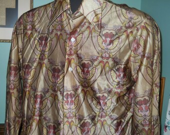 Polyester nylon shirt from 1950's size med brown design sooooo retro