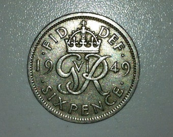 1949 Wedding Sixpence Coin - Lucky Wedding Sixpence for the Bride, Anniversaries, Mother's Day or Birthdays