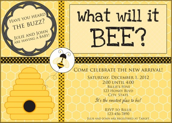 what will it bee baby shower invitation neutral gender reveal
