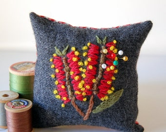 Square Embroidered Pin Cushion Australian Native Flowers Red Bottlebrush