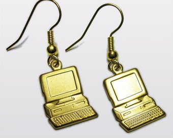 Geek Chic Old Style Computer earrings Limited Edition Brass