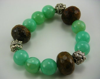 Etsy sale Green Amazonite Brown Agate & Thai silver Beads Stretchy Bracelet holiday gift boho bridal wedding Handmade OOAK