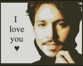 Johnny Depp I Love You - Counted Needle Point and Cross Stitch Chart Patterns