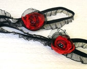 Red and Black Flower Organza Garter Valentine's Day Sexy Gift
