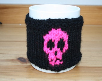 Hand Knitted Neon Pink and Black Skull Reusable Cup Cuff // One Size // Cup Cuff // Gifts for Her // Stocking Stuffers