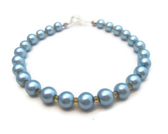 Blue Glass Pearl Bracelet - Nautical - Handmade - Homemade Jewelry
