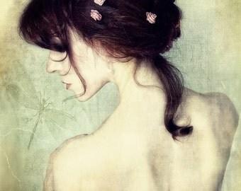 Someday--Fine art portrait photography, dragonfly, flowers, feminine portrait, wall art, red hair, French script, face, chiffon, dreamy art