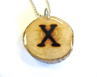 Letter X Necklace, Reclaimed Wood