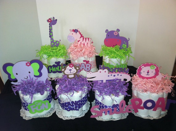 Charming Items Similar To 7 Girl Safari Mini Diaper Cakes Baby Shower Gifts/ Decorations/favors On Etsy