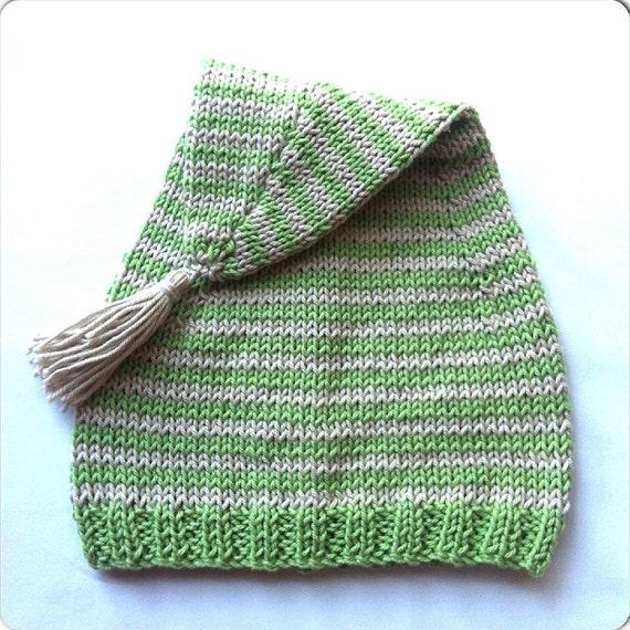 Elf Beanie Knitting Pattern : Knitted baby beanie knit baby elf hat handmade green baby hat