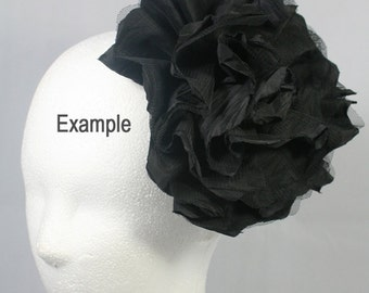 OverSized Flower Motif Corsage Brooch for Headband, Hair Accessories, Hat, Hair Clips or more Accessories Handmade Annielov Flower12-Black