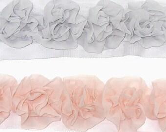Flower Chiffon Trim Chiffon Lace for Women baby girls Hair Clip, Hair Accessories Clothing Annielov Chiffon Trim Lace 11 - 1 yard (90cm)