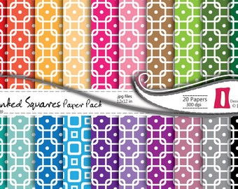 Digital Scrapbooking Paper -Linked Squares Paper Pack - Commercial Use ,Instant Download