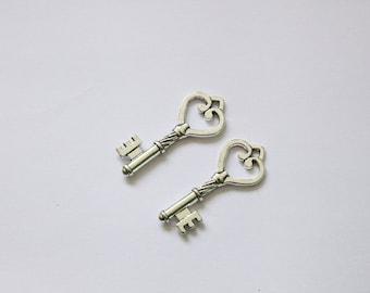 "2 Pcs. charm / metal pendants ""Key with heart"" / antique silver tone / 46 x 18mm A144"