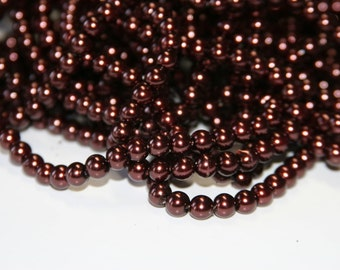 75 PCs 6mm gl. red-brown glass beads GWP22-6