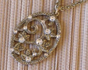 Gold Necklace Swarovski Crystals Rhinestones