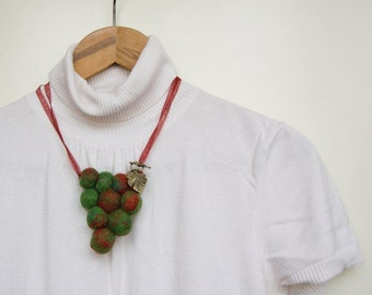 Grapevine necklace, Green Orange Yellow, Felt balls necklace, Felted necklace, Autumn Fall Fashion, Fiber art jewlery