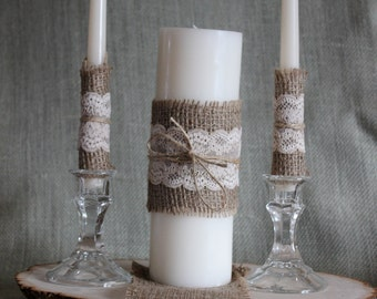 Burlap and Tea Dyed Lace Complete Unity Candle Set