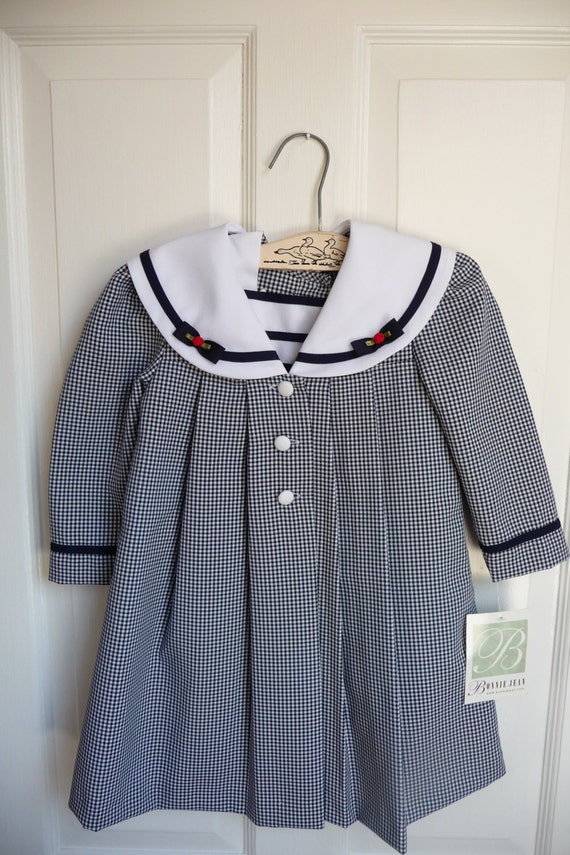 Vintage easter dress and matching coat 2t or 3t blue gingham wedding