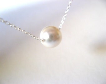 Sterling Silver Dainty Necklace with Swarovski Crystal Pearl - bride necklace - wedding necklace - pearl necklace