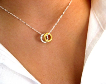 Little Dainty Sterling Silver Necklace with hammered rings - geometric necklace - geometric jewelry