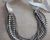 Vintage style Grey Pearl, Chain, Rhinestone, and Ribbon Necklace - SvenjasTreasures