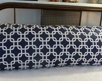 Body pillow cover in navy blue and white geometric pattern by Premier Prints.