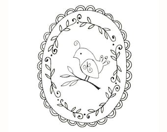 Bird Embroidery Pattern Woodland Animal Printable Digital Downloadable 0054