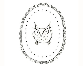 The Infamous Grumpy Owl Embroidery Pattern Woodland Critter Digital Downloadable 0025