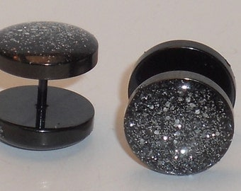 Dark Silver Glitter Fake Plugs