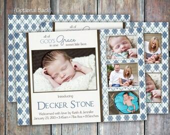 Baby Boy Birth Announcement-Argyle Grace