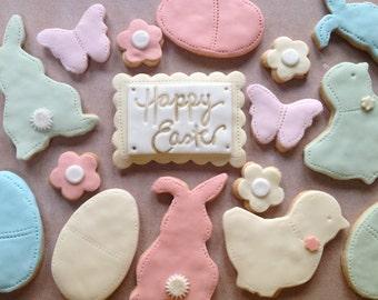 Coffret de Pâques biscuit - cadeau de Pâques, cadeau de printemps biscuits, cadeau de Pâques pour les enfants, biscuits oeuf de Pâques, lapins, oeufs de Pâques chasse friandises