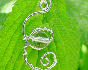 Healing Quartz Crystal Pendant, Spiral Wire Wrapped Pendant, Healing Jewellery Pendant, Gift Idea, Harmony, Love,