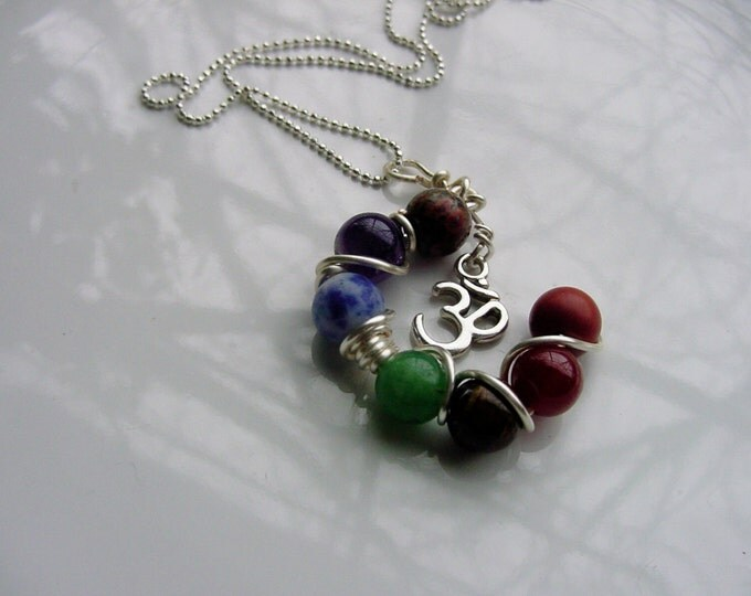 7 Chakra OM Charm Pendant - Gemstones, Balance, Harmonize Energy Centers,Reiki Jewelry, Valentines Day Gift Idea, FREE SHIPPING