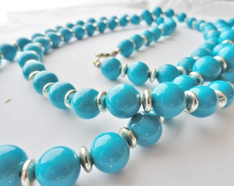 Turquoise and Silver Bead Necklace, Vintage Costume Jewelry